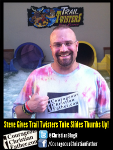Steve Gives Trail Twisters Tube Slides Thumbs Up! - Steve Floating down from Trail Twisters Tube Slides - The Wilderness at the Smokies