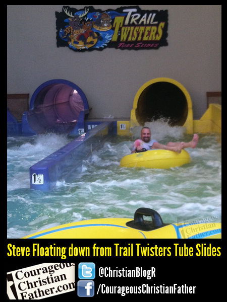 Steve Floating down from Trail Twisters Tube Slides - The Wilderness at the Smokies