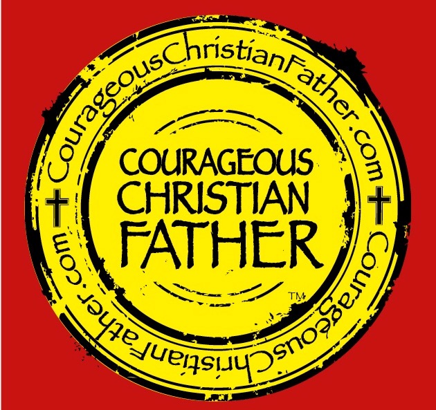 Red/Yellow Courageous Christian Father logo
