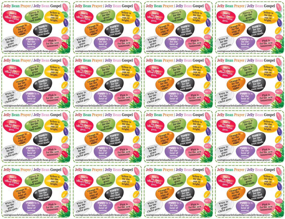 Jelly Bean Prayer (16 To A Page) Free Printable