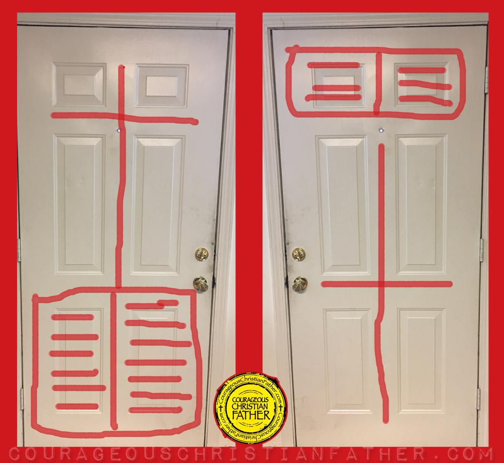 6 Panel Door (Bible and Cross Door) Cross Door - Bible Door