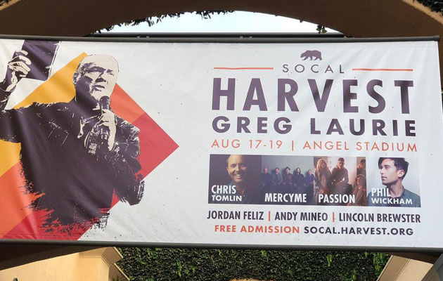 Billboards of Pastor with Bible Removed Due to Complaints Greg Laurie of SoCal Harvest had his billboards removed due to complaints because he held a Bible.