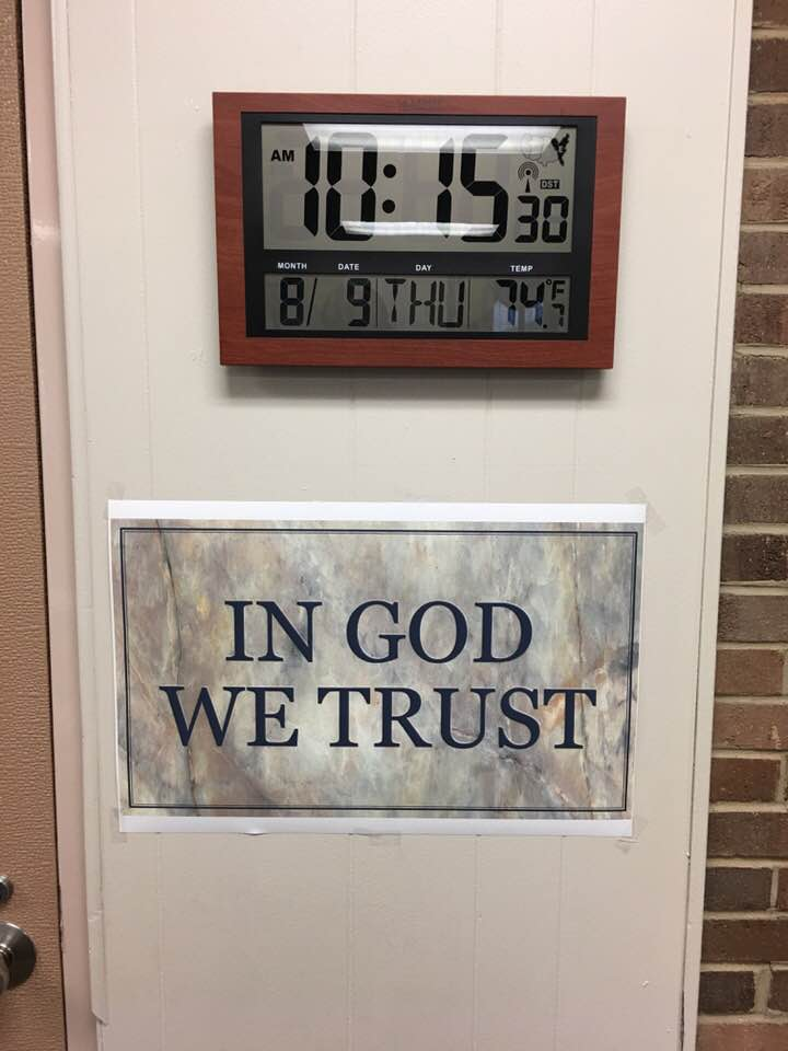 In God We Trust Required in Tennessee Schools - In God we trust now being able and also required to be displayed back in Tennessee Schools again. #InGodWeTrust Photo Credit: Anthony Ingram