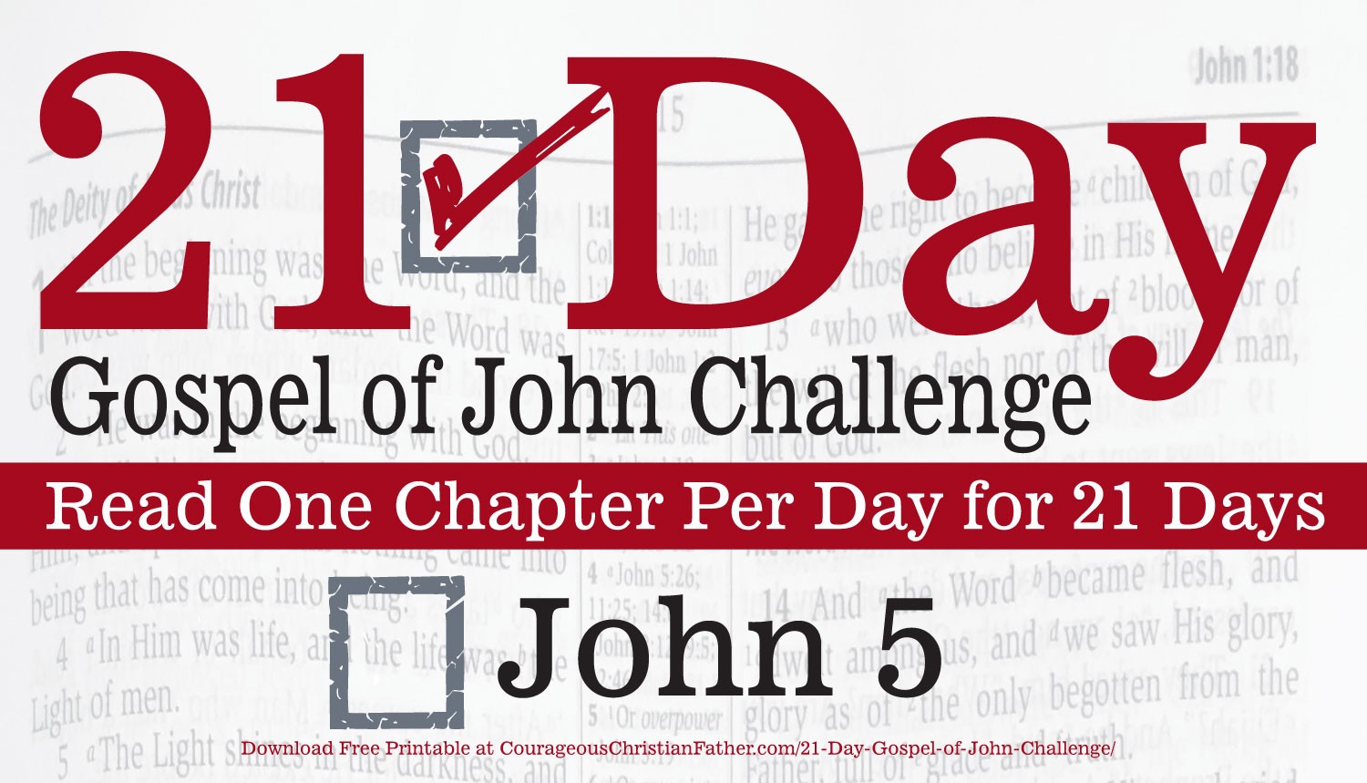 John 5 - It's day 5 of the 21 Day Gospel of John Challenge. Today you will need to read the 5th chapter of the Gospel of John. #John5