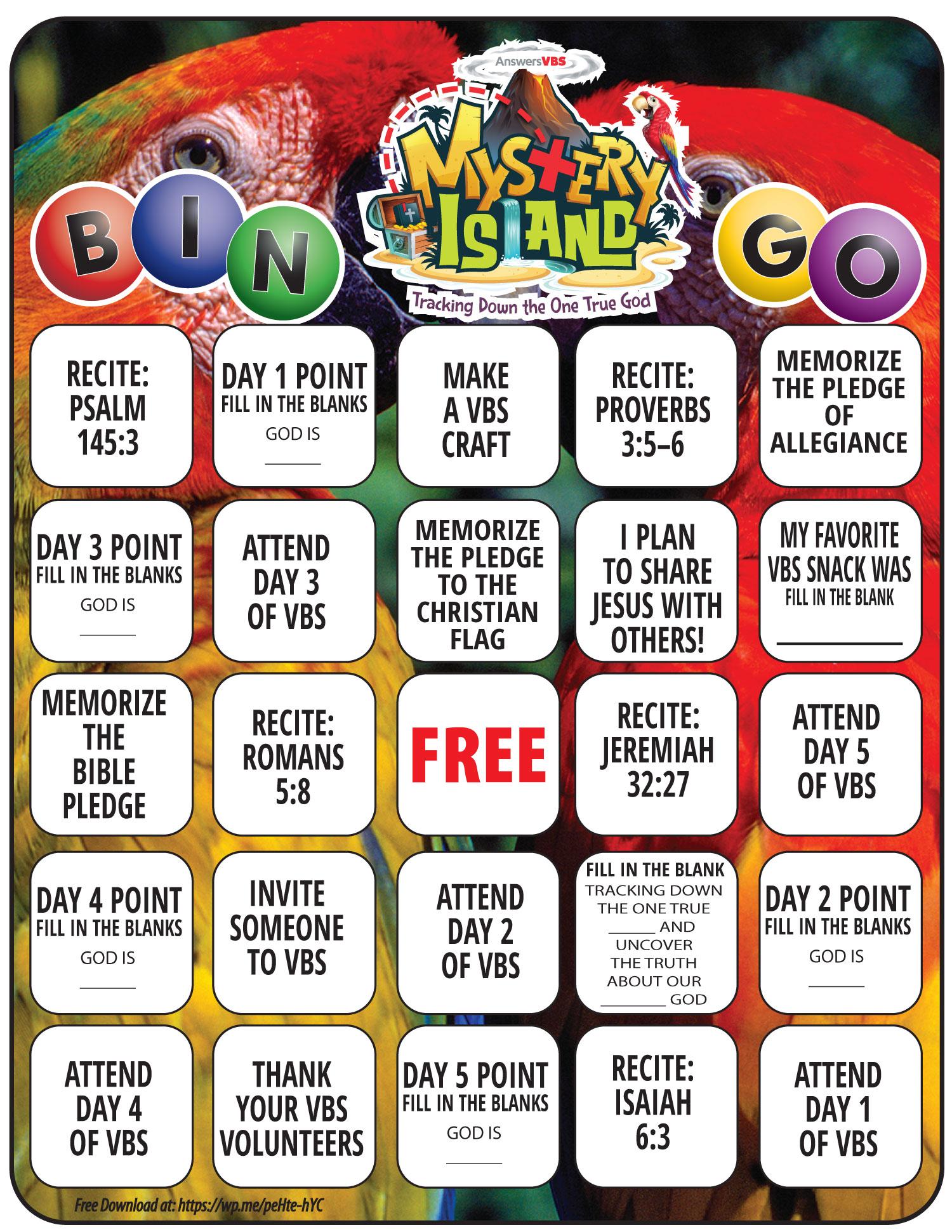 Answers in Genesis Mystery Island Bingo