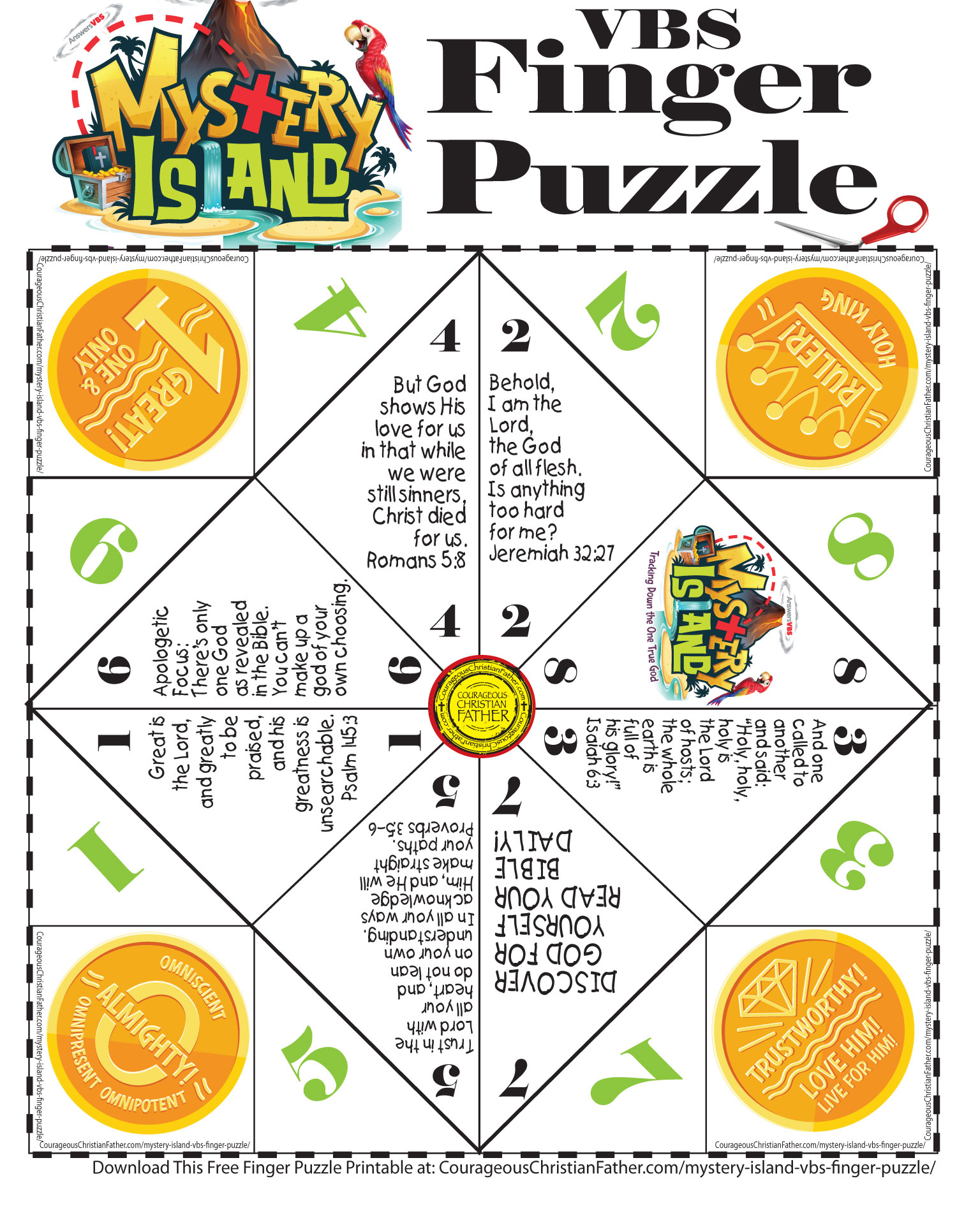 Answers in Genesis Mystery Island Finger Puzzle (Answers in Genesis Mystery Island Cootie Catcher)