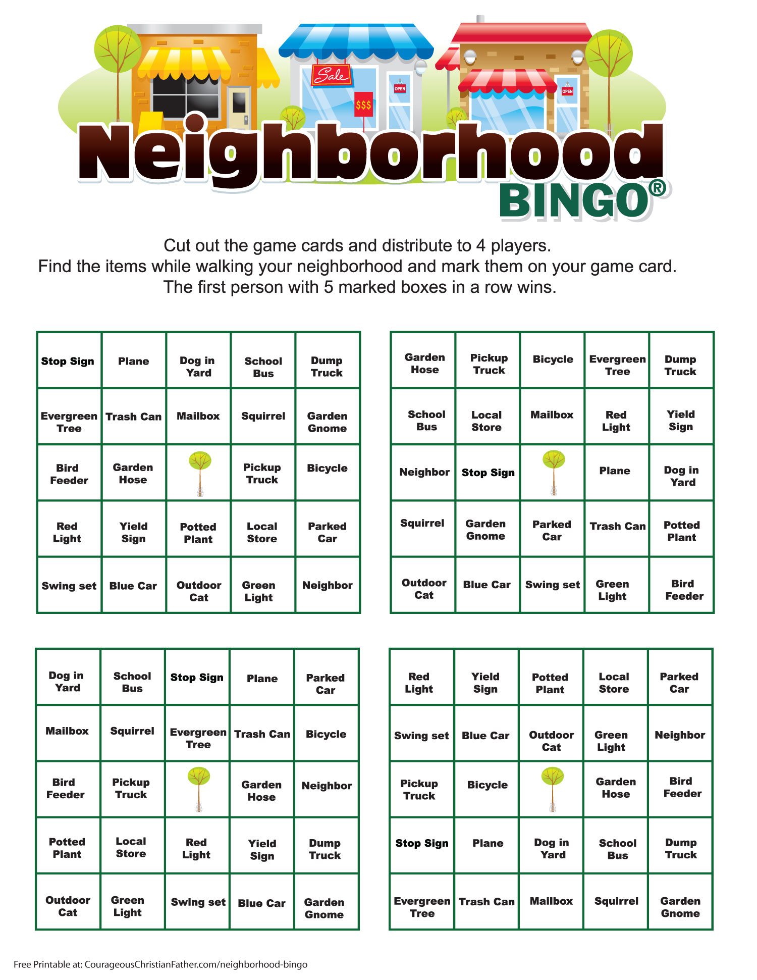 Neighborhood Bingo Printable - A Free bingo printable to do in teams of 4 in your neighborhood. #Bingo #NeighborhoodBingo