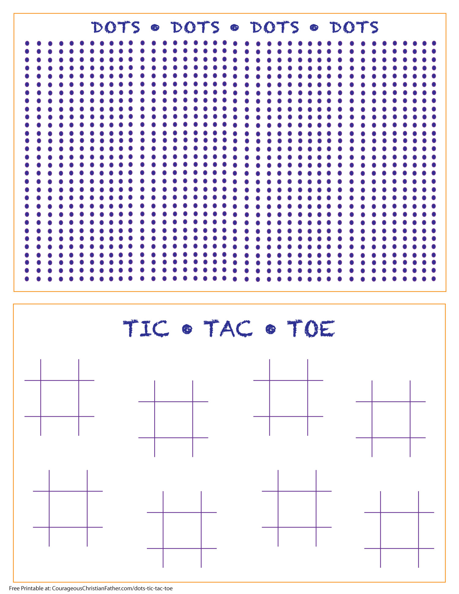 Dots Tic Tac Toe Printable - a Free printable for the Dots Game and also Tic Tac Toe. #Dots #TicTacToe