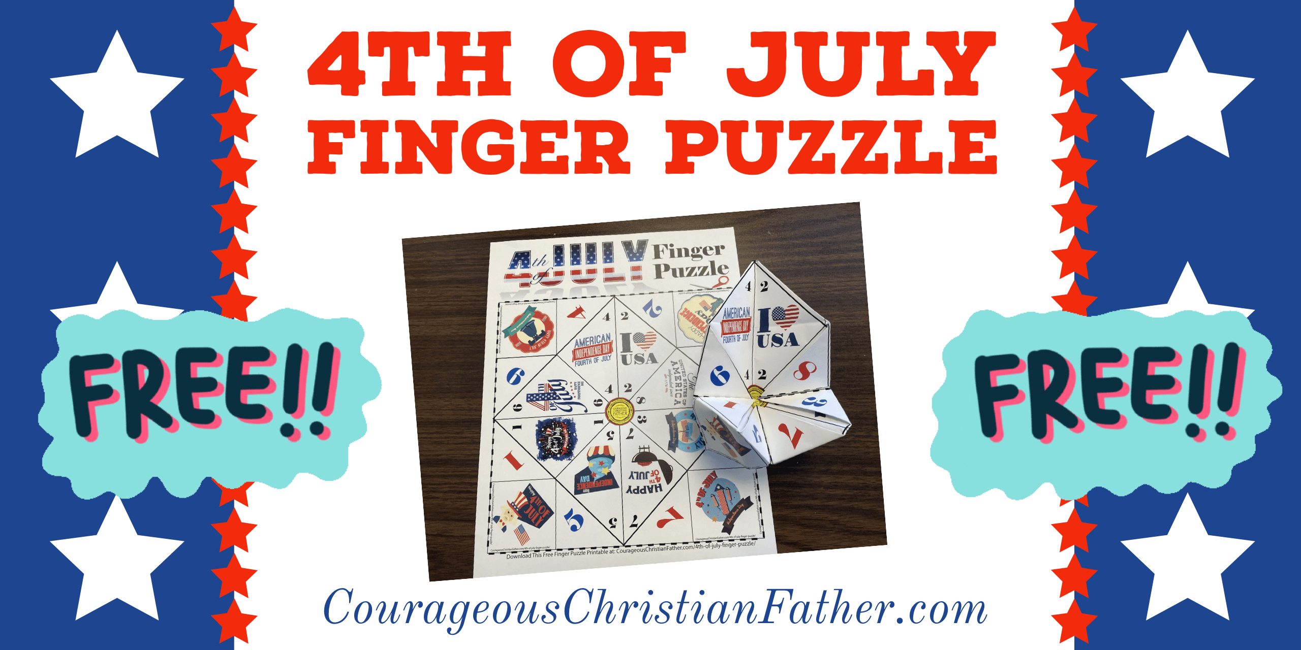 4th of July Finger Puzzle Printable - Here is a fun free finger puzzle printable for Independence Day (4th of July). #4thofJuly #IndependenceDay