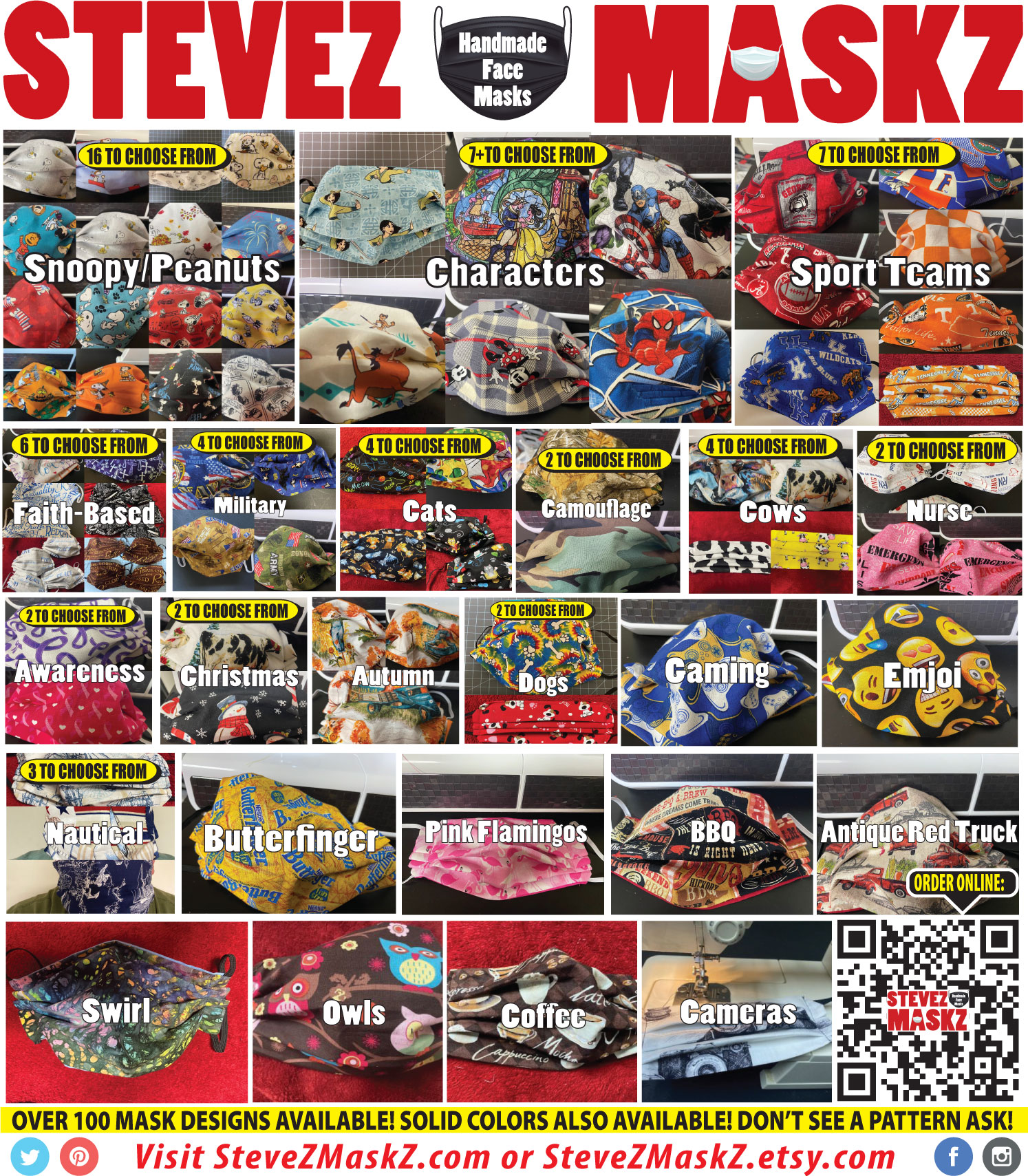 SteveZ MaskZ - Handmade Face Masks For Sale